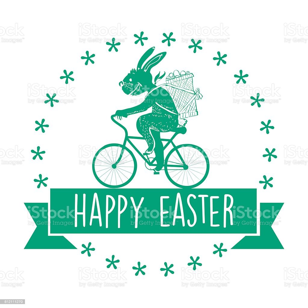vintage biking easter bunny badge with text ribbon stock photo