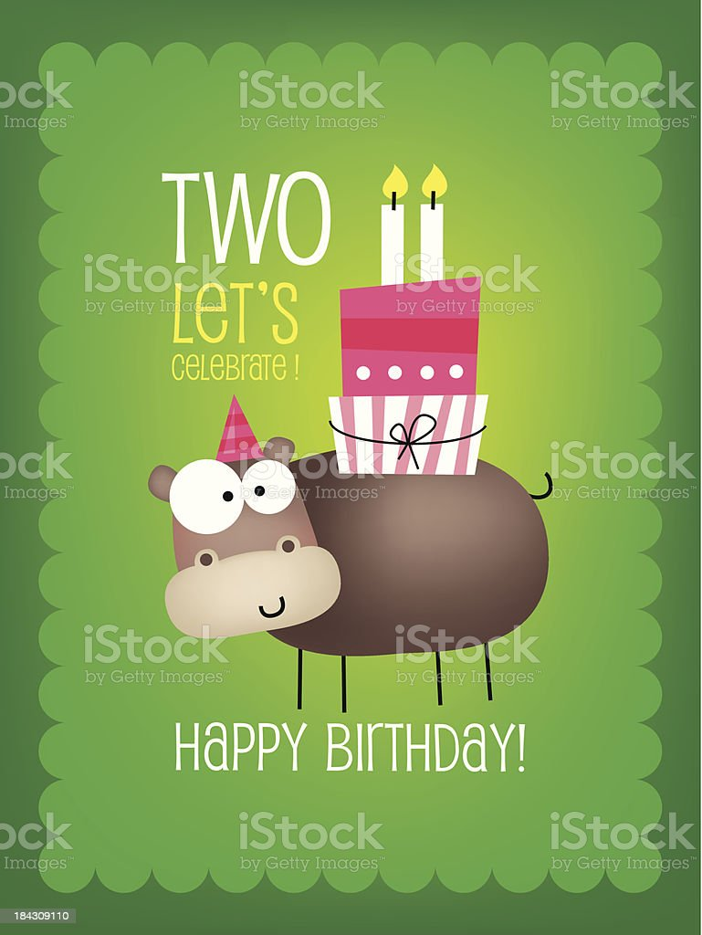 Vintage Birthday Card vector art illustration