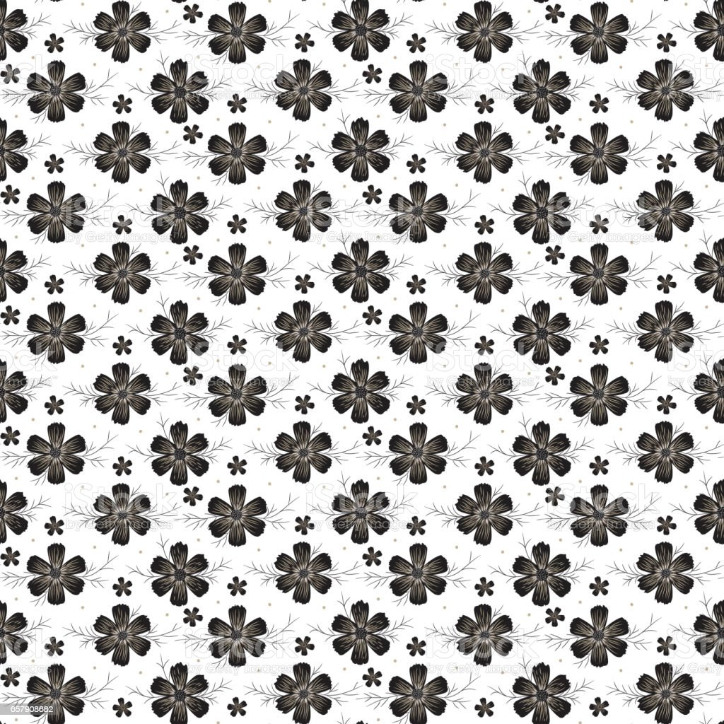 Vintage Black and White Floral Seamless Pattern. Daisies or Cosmos Flowers. Vector illustration vector art illustration