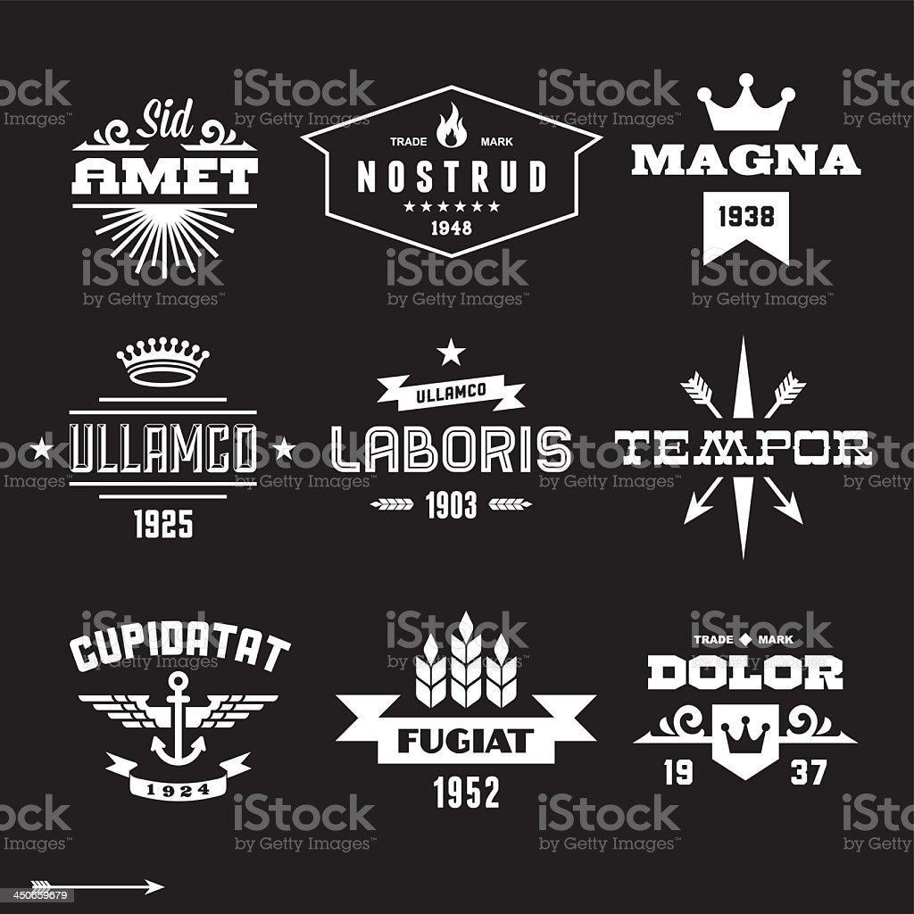 Vintage black and white label graphics set vector art illustration