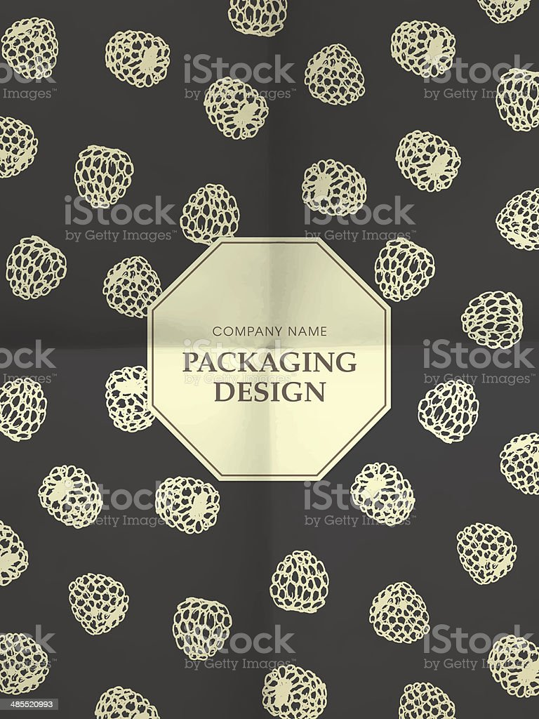 Vintage black and white wrapping paper with raspberries royalty-free stock vector art