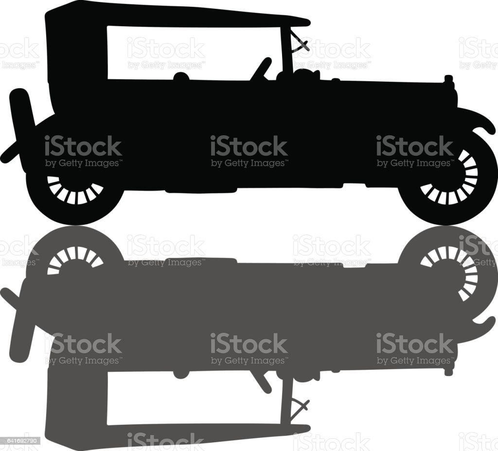Vintage black convertible vector art illustration