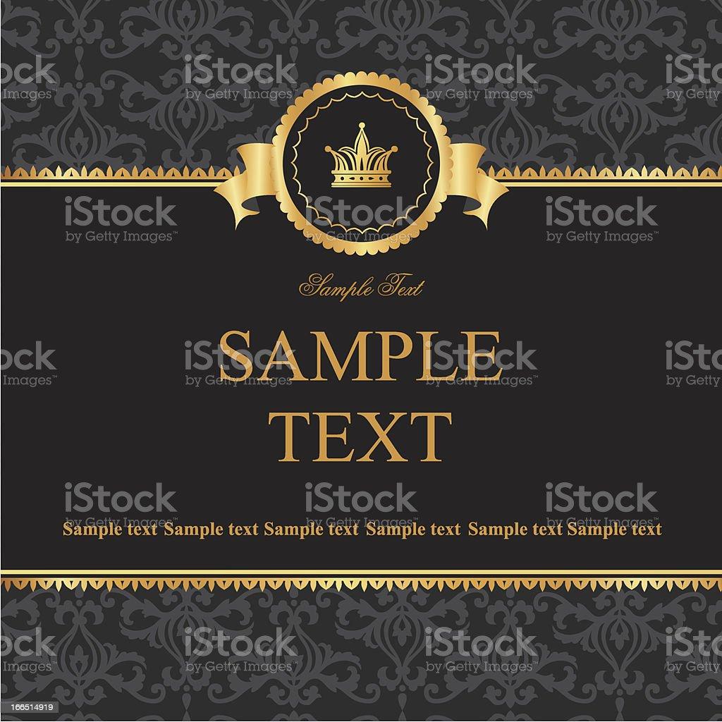 Vintage black damask background with frame of golden elements royalty-free stock vector art