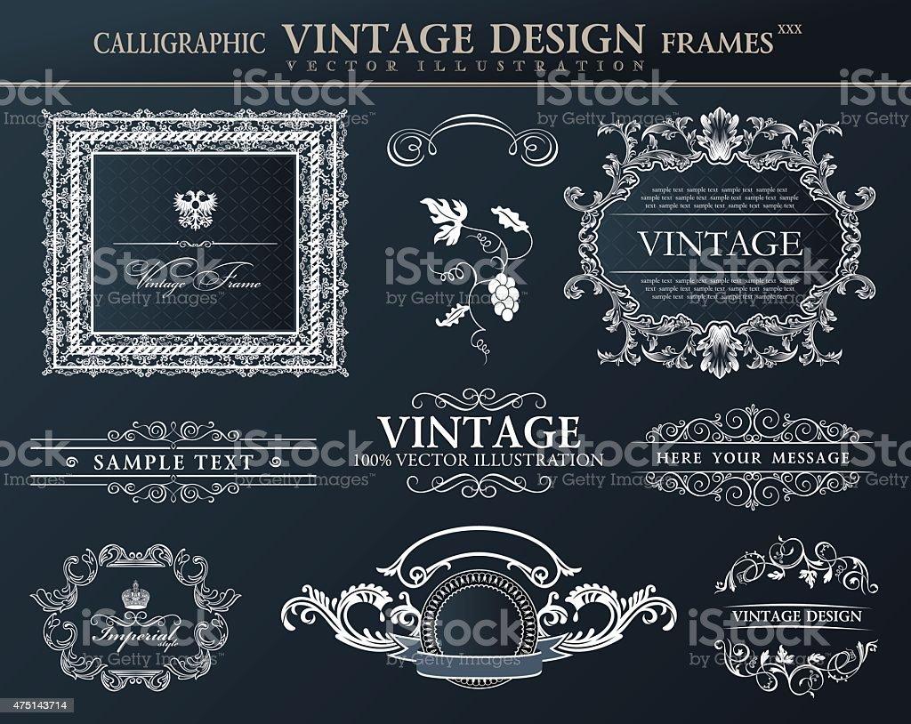 Vintage black frames ornament set. Vector element decor vector art illustration