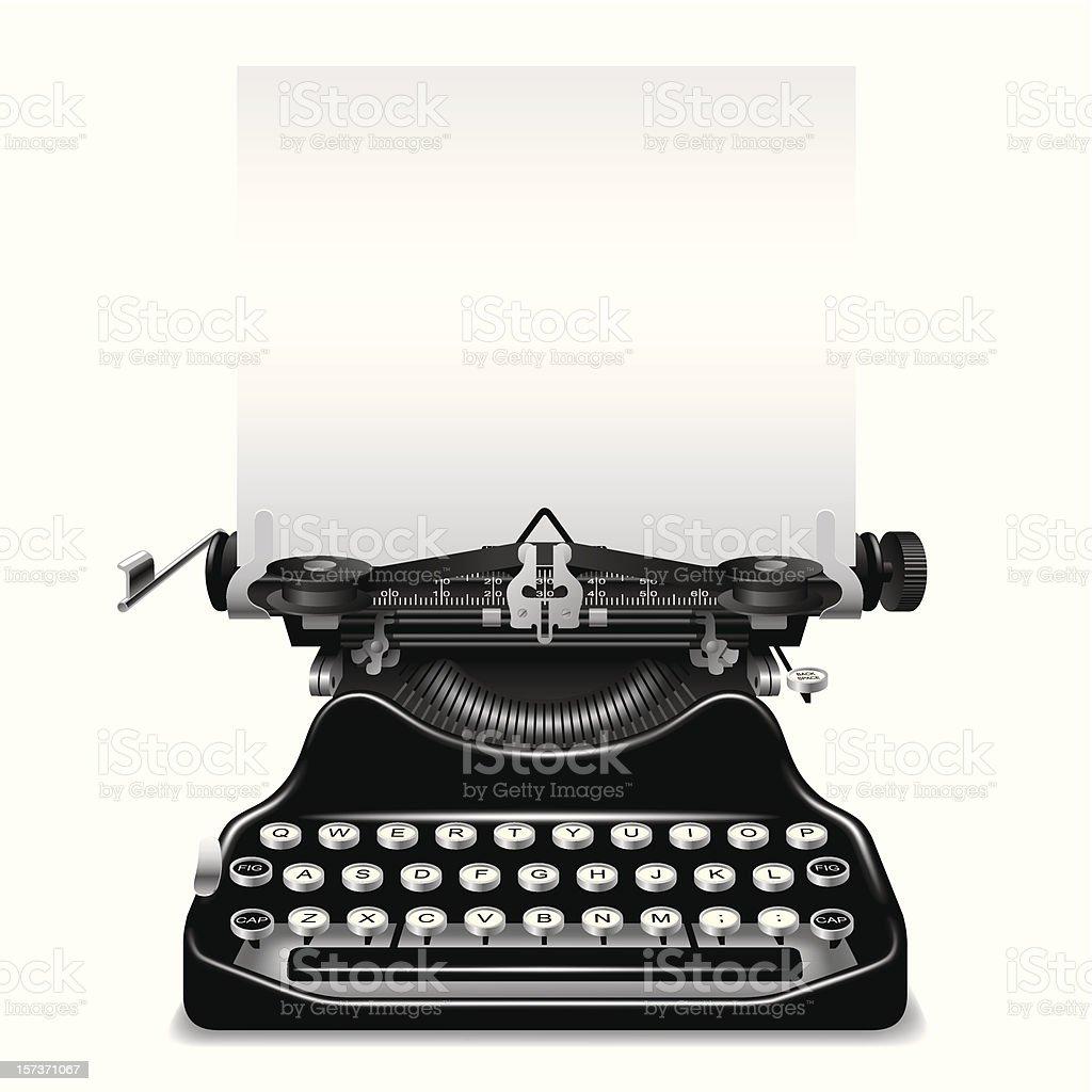 Vintage black typewriter ready for some words vector art illustration