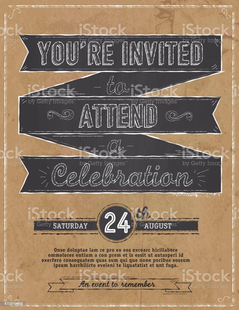 Vintage blackboard and paper bag concept invitation design template vector art illustration