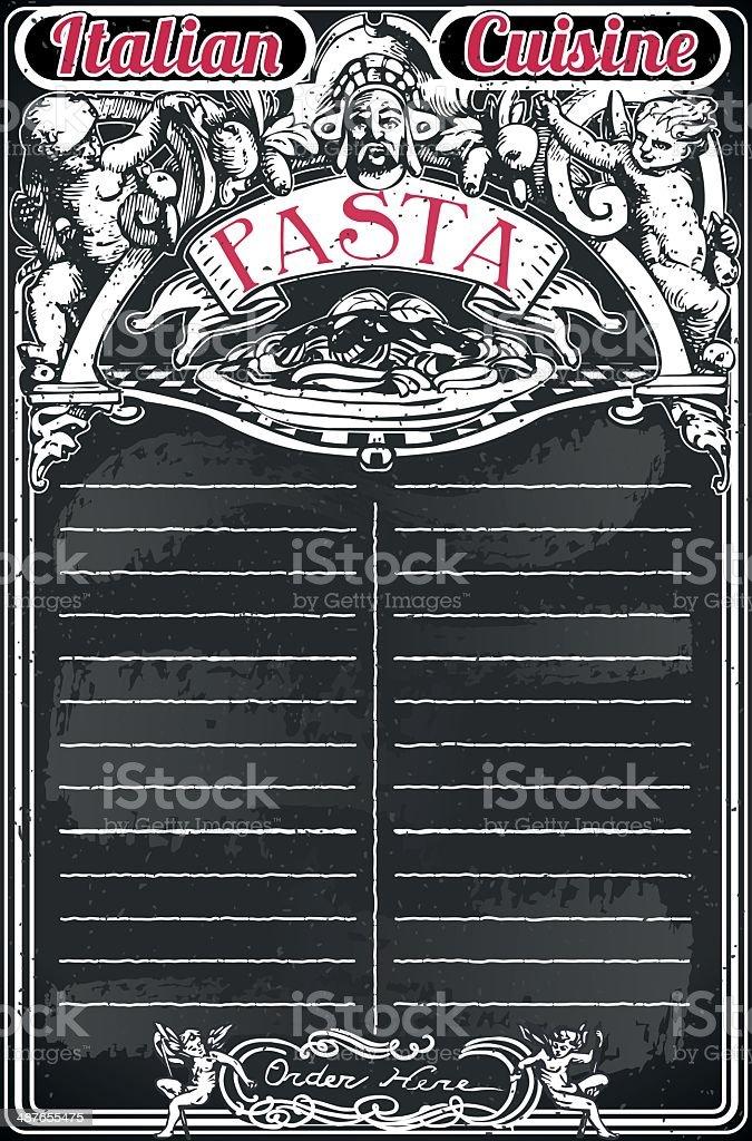 Vintage Blackboard for Italian Pasta Menu royalty-free stock vector art
