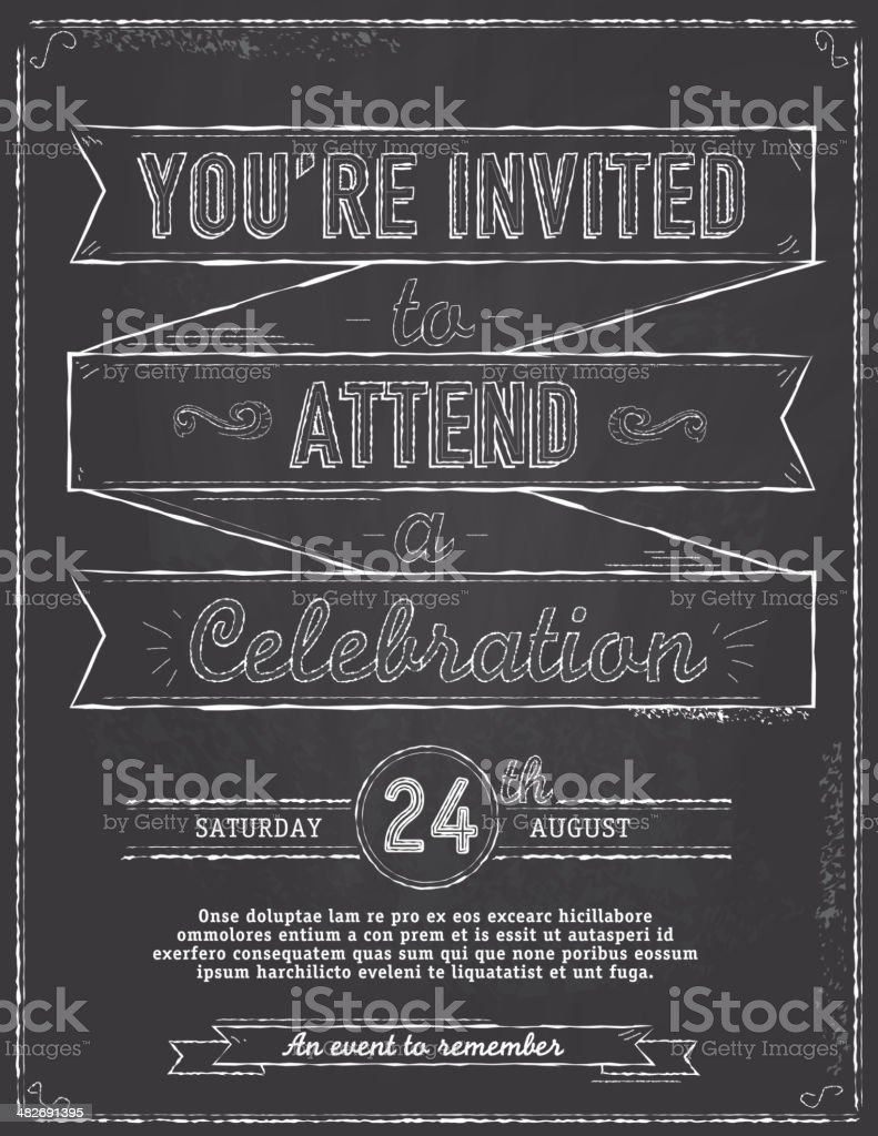Vintage blackboard style invitation design template with ribbons royalty-free stock vector art