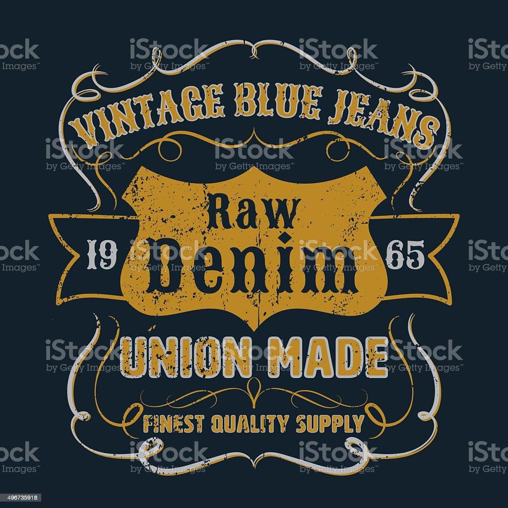 Vintage blue jeans graphic for apparel,tee design,vector vector art illustration