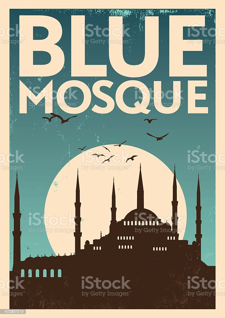 Vintage Blue Mosque Poster royalty-free stock vector art
