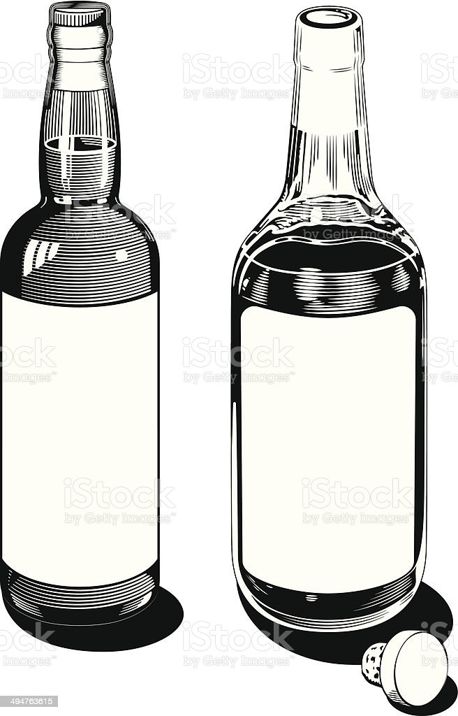 Vintage Bottles vector art illustration