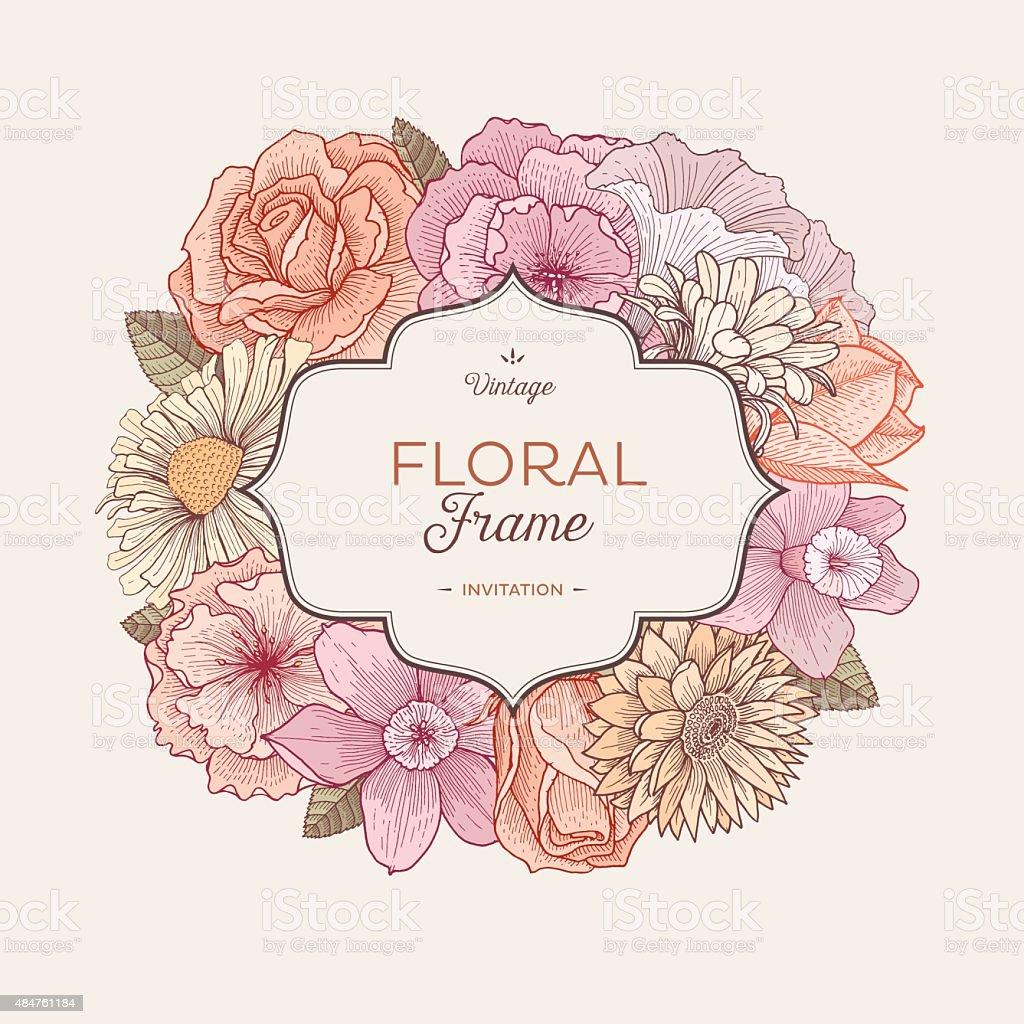 Vintage Bouquet Label vector art illustration