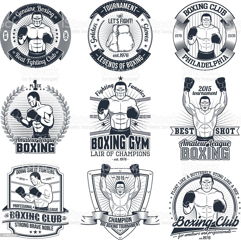 Vintage boxing logos vector art illustration