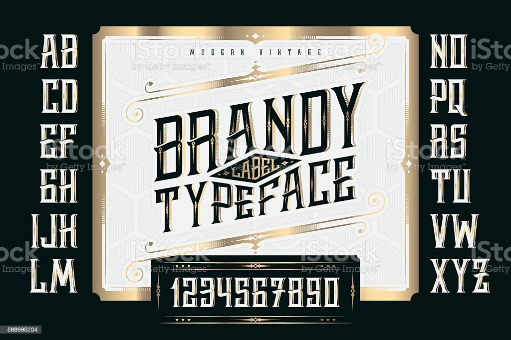 Vintage Brandy Label Typeface with classic ornate and pattern royalty-free stock vector art
