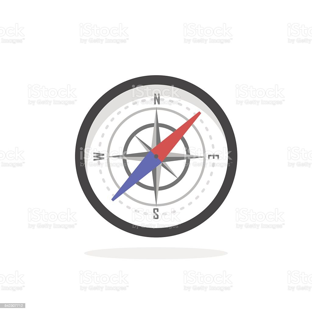 Vintage brass travel compass isolated geography vector art illustration