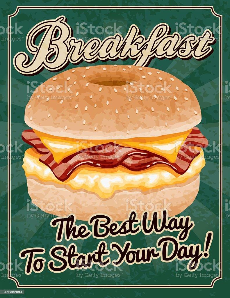Vintage Breakfast Poster vector art illustration