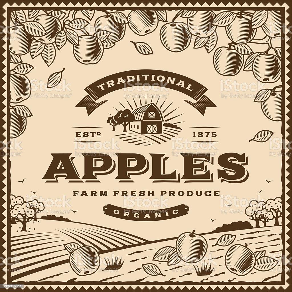 Vintage brown apples label vector art illustration