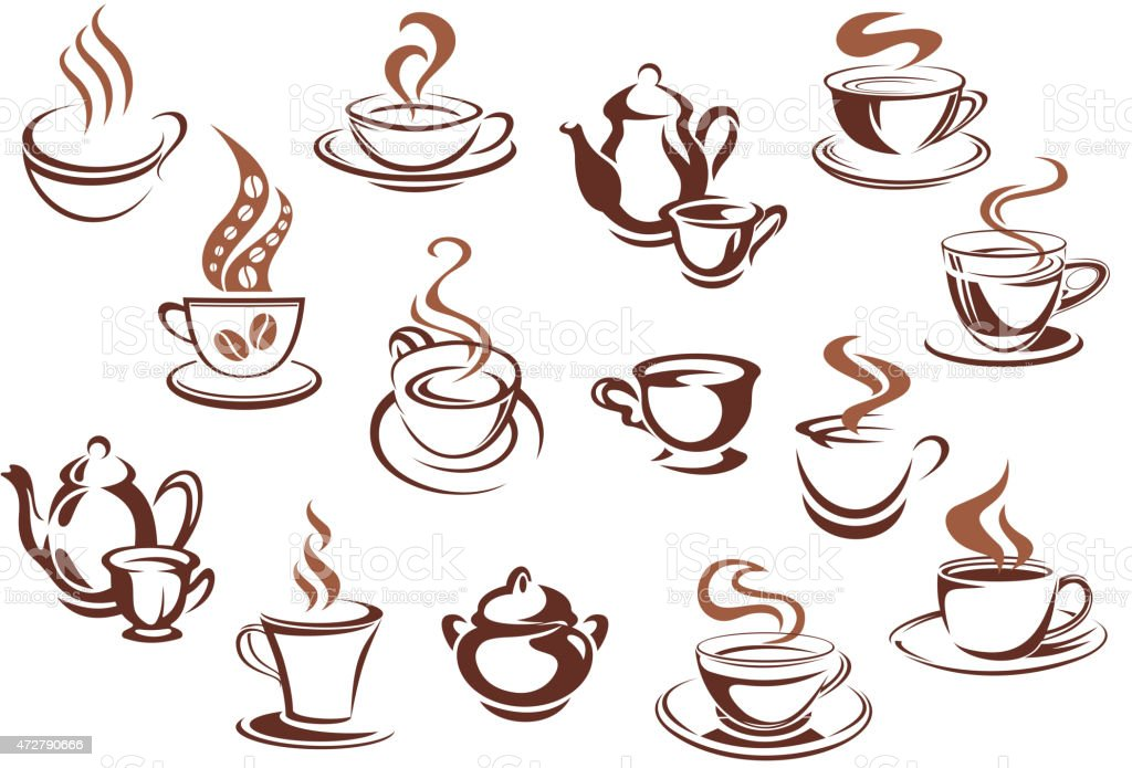 Vintage brown coffee cups and pots vector art illustration