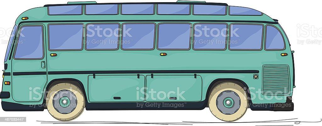Vintage bus cartoon vector art illustration