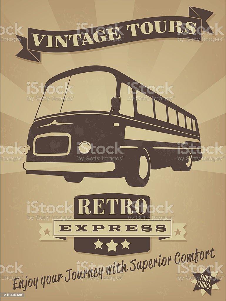 Vintage Bus Retro Advertising Poster vector art illustration