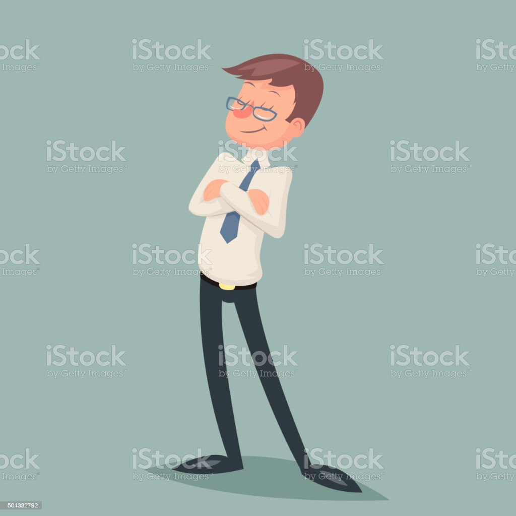 Vintage Businessman Standing Proud Clever Winner Character Icon on Stylish vector art illustration