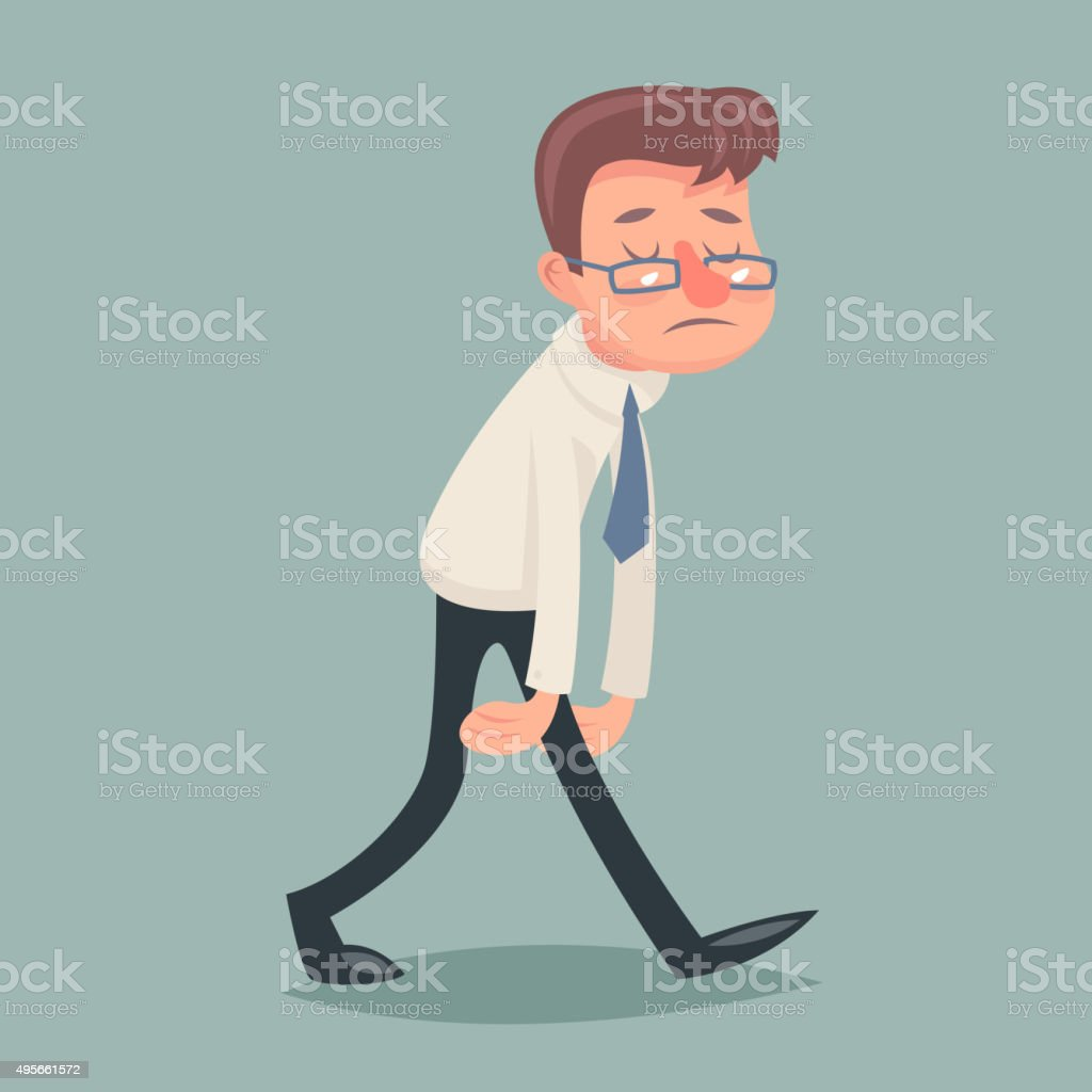 Vintage Businessman Walk Sad Tired Weary Character Icon on Stylish vector art illustration
