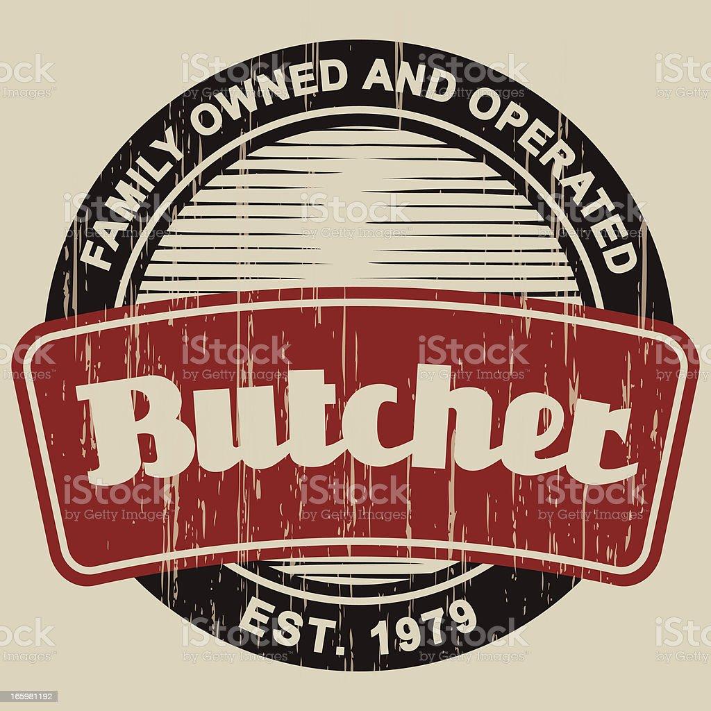 Vintage Butcher Shop Label royalty-free stock vector art
