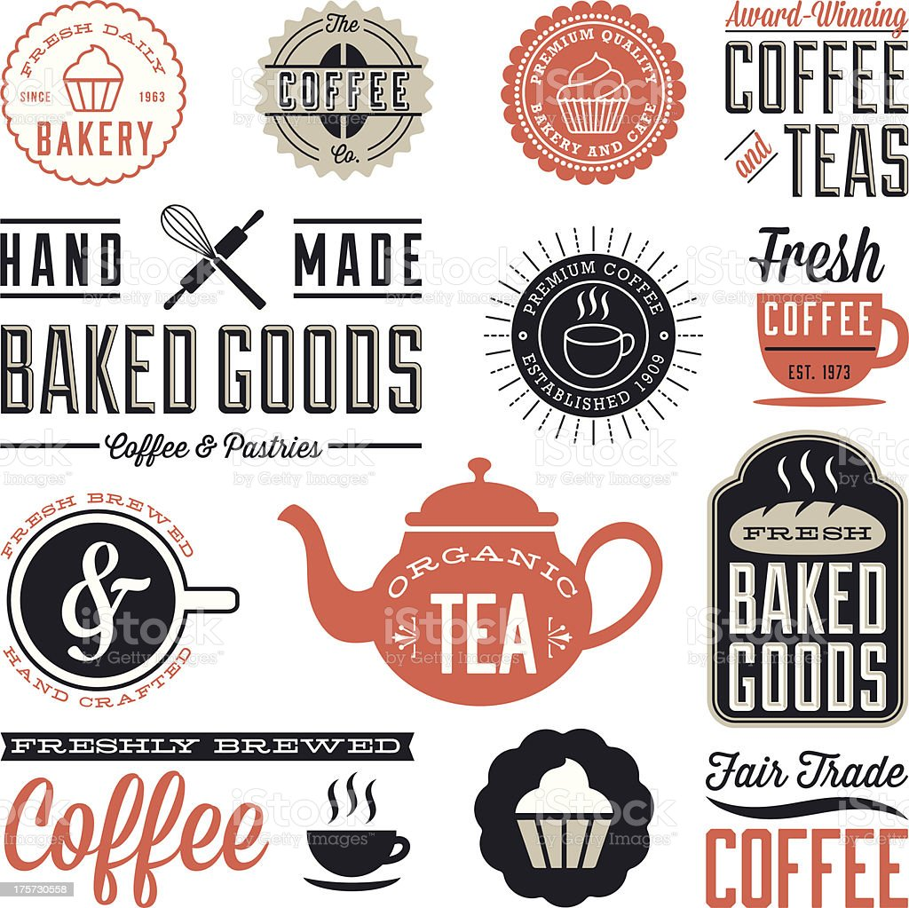 Vintage Cafe and Bakery Designs royalty-free stock vector art
