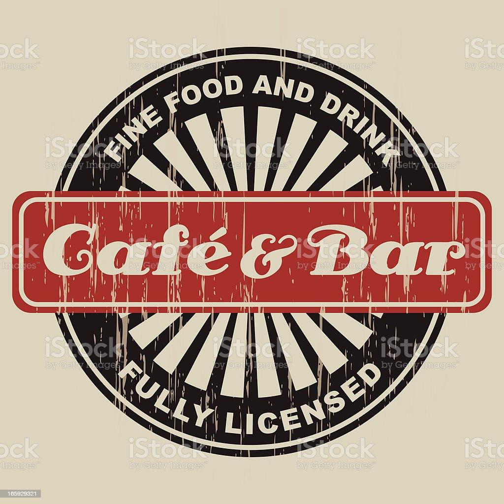 Vintage Cafe & Bar Label vector art illustration