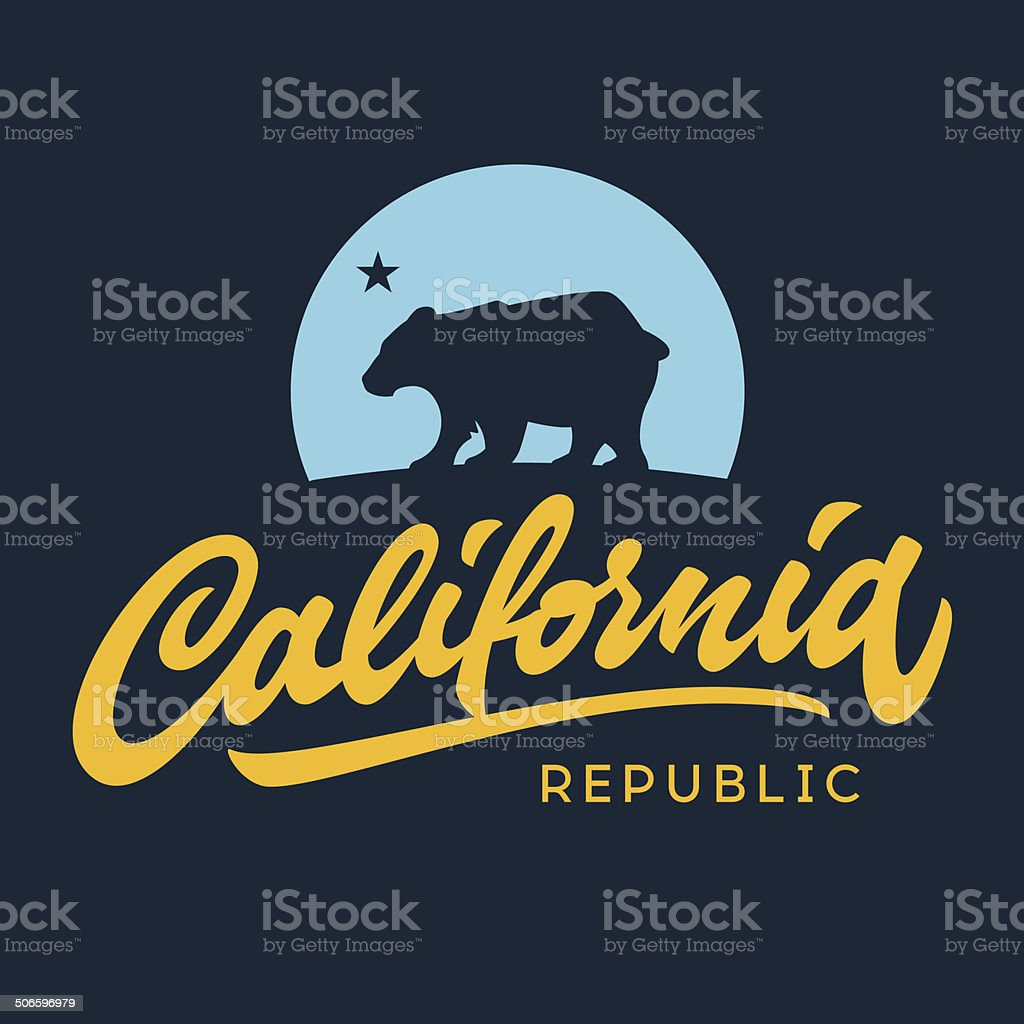 Vintage california republic apparel design vector art illustration