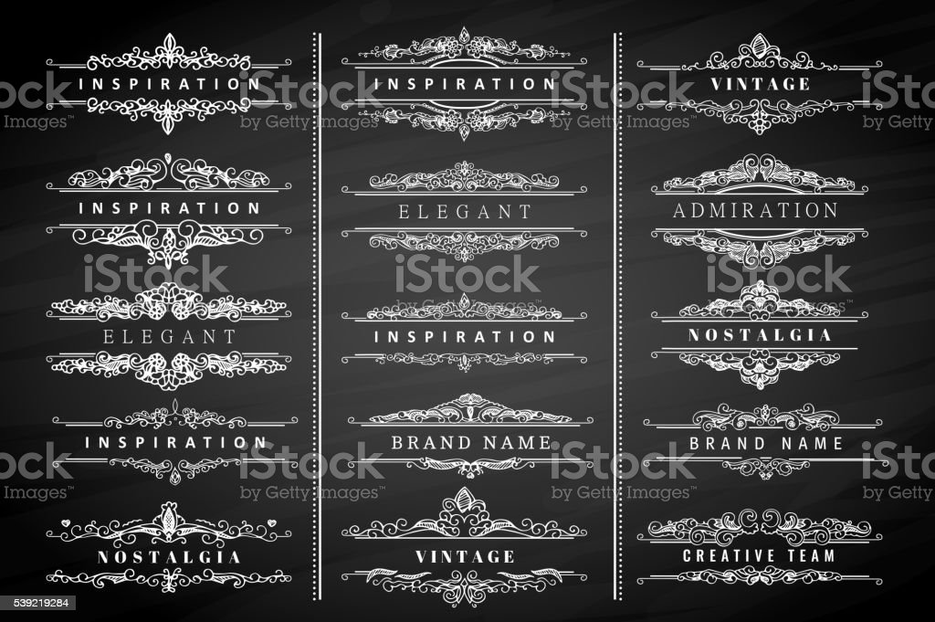 Vintage calligraphic ornaments and frames vector art illustration
