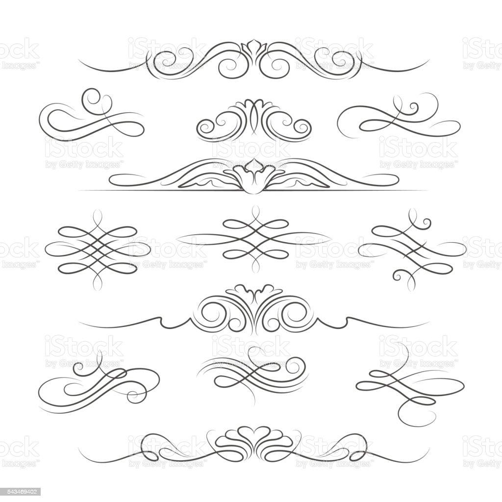 Vintage calligraphic ornate decoration elements vector art illustration