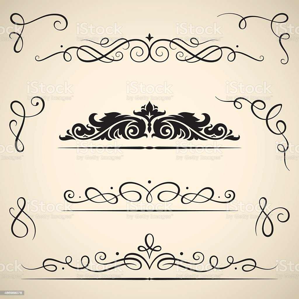 Vintage calligraphic swirls vector art illustration