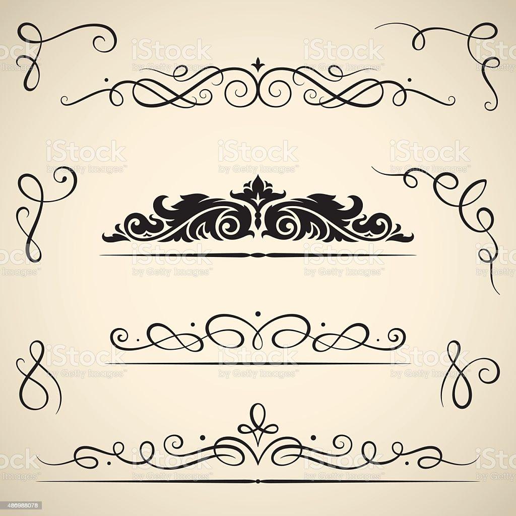 Vintage calligraphic swirls vector art illustration