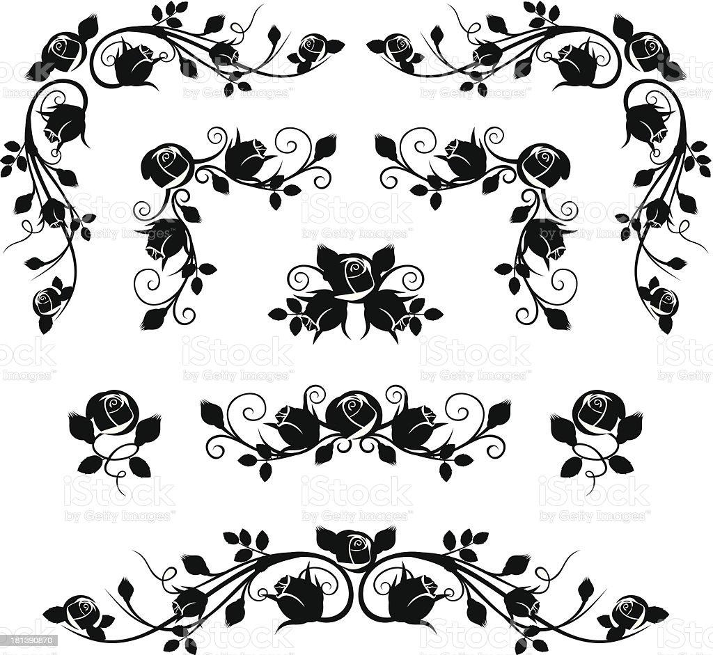 Vintage calligraphic vignettes with rose buds. Vector illustration. vector art illustration