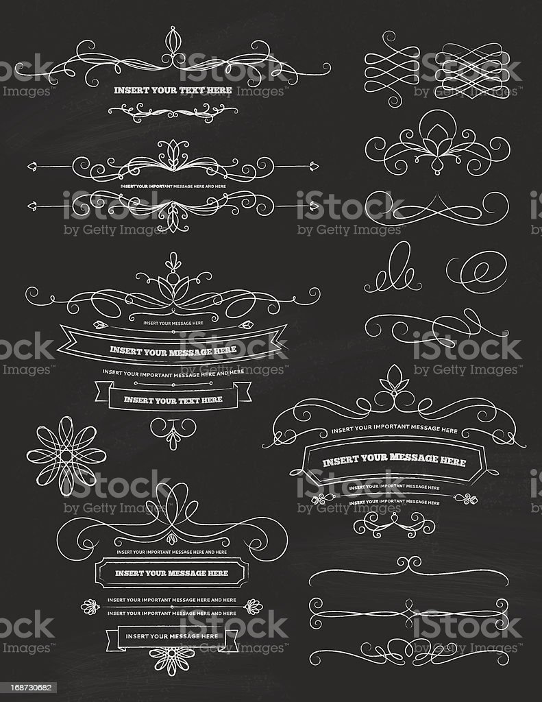 Vintage Calligraphy Chalkboard Design Elements vector art illustration