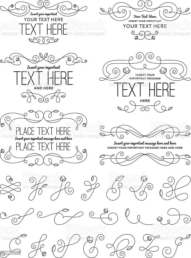 Vintage Calligraphy Flower Design Elements vector art illustration