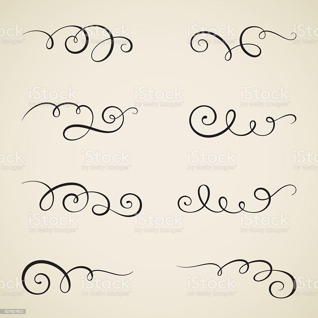 Vintage calligraphy scrolls vector art illustration