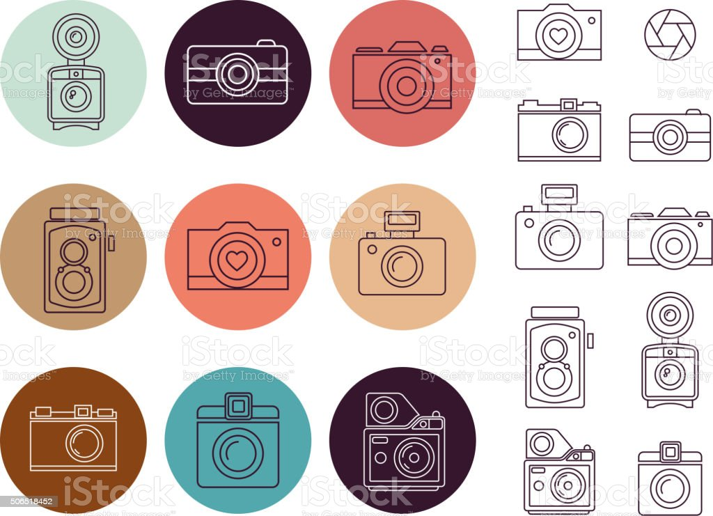 Vintage camera element, icon set vector art illustration