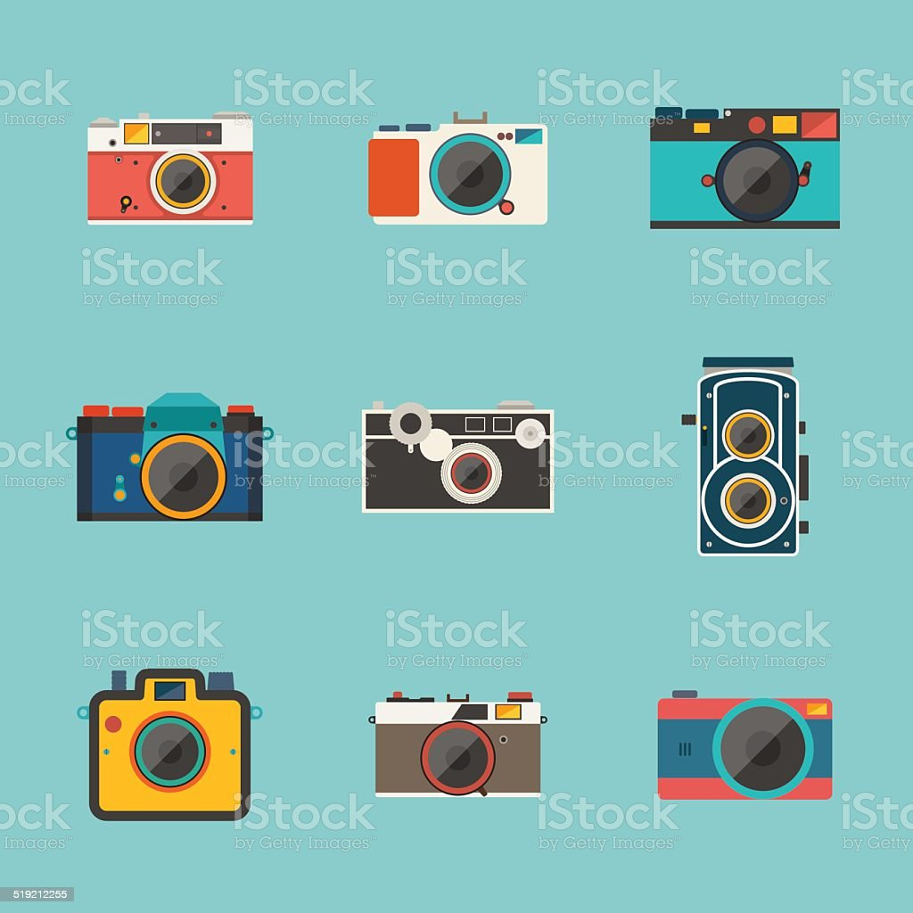 vintage camera icon vector art illustration