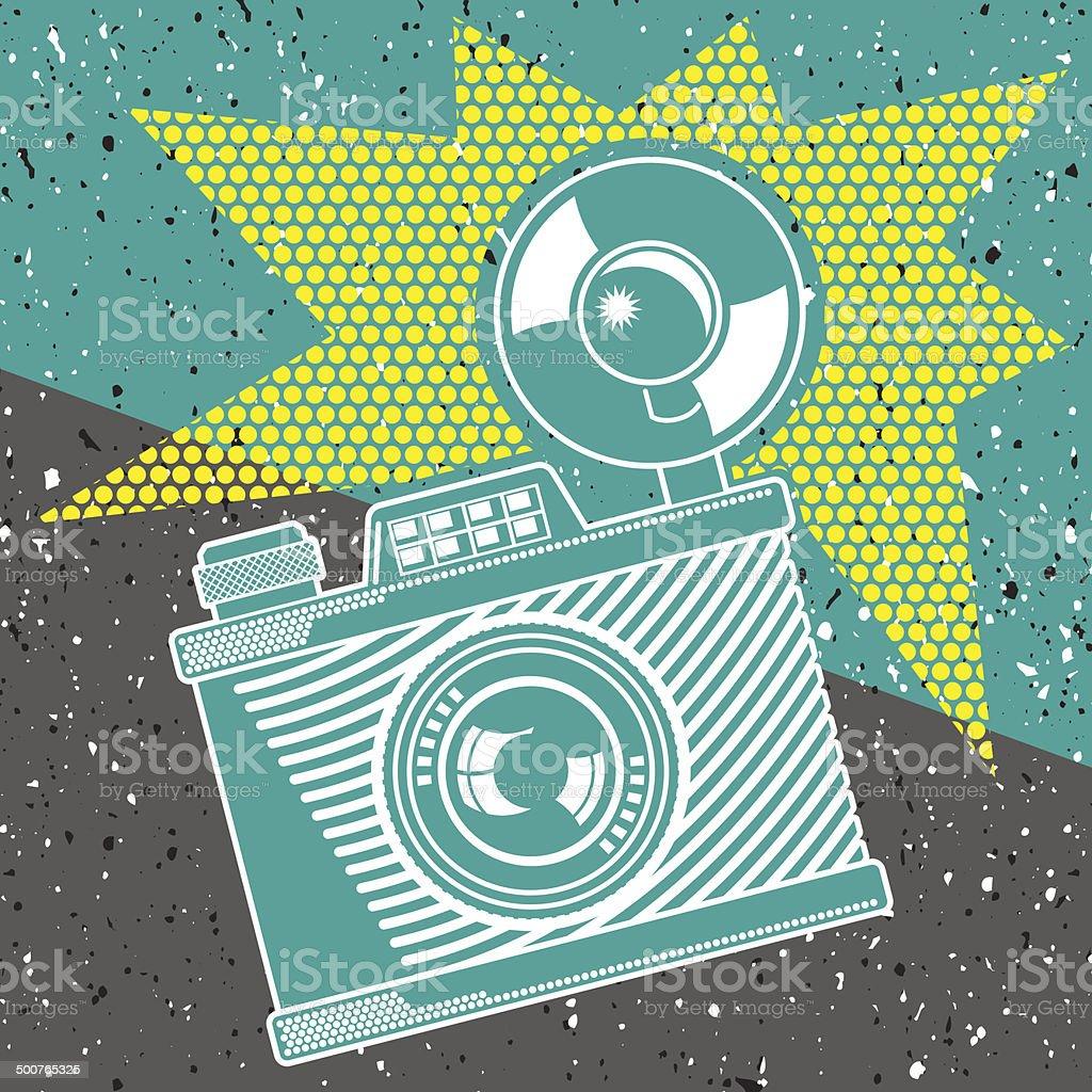 Vintage camera poster vector art illustration