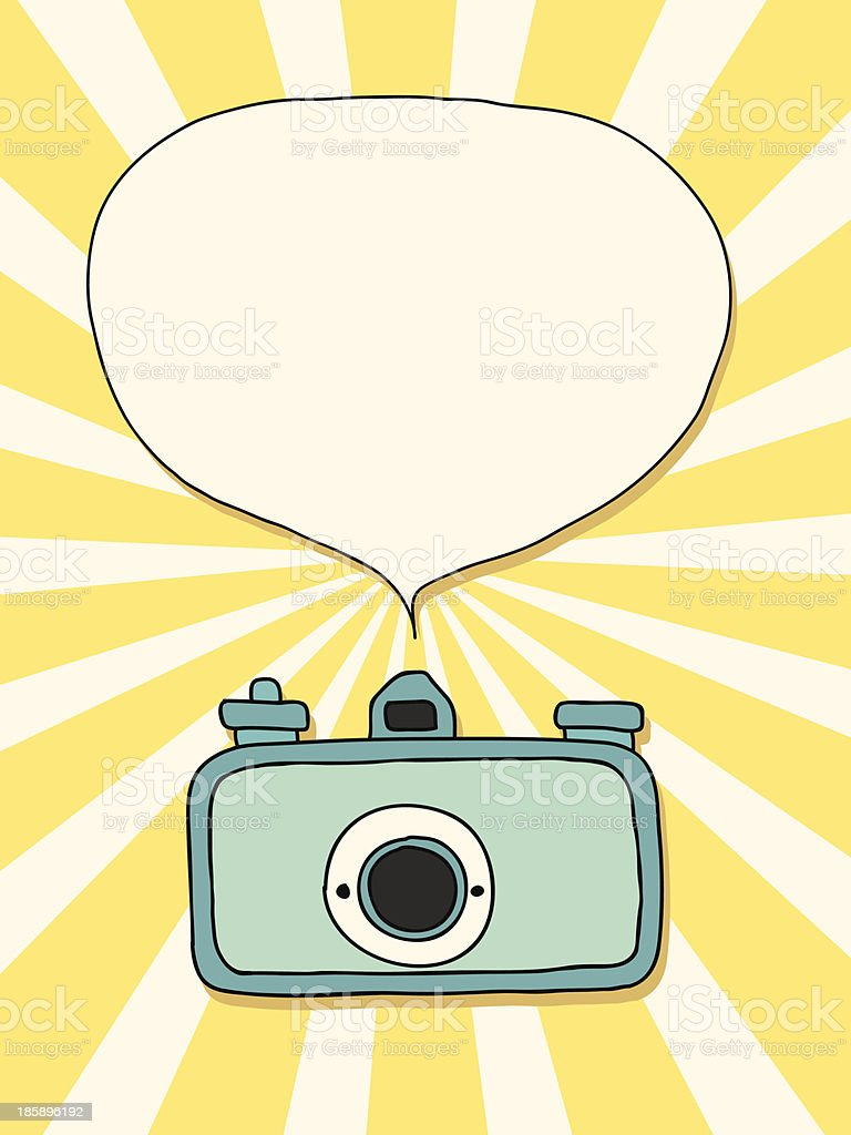 Vintage camera with speech bubble royalty-free stock vector art
