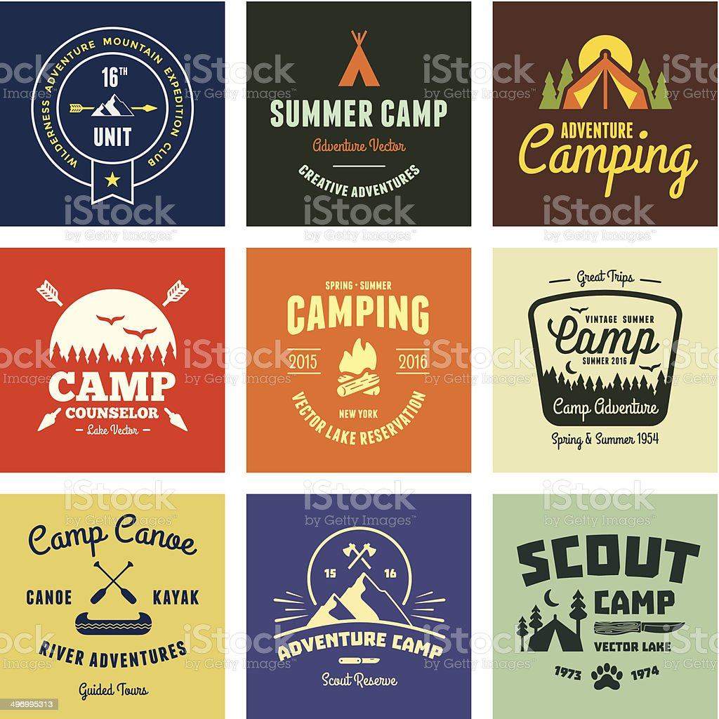 Vintage camp graphics vector art illustration
