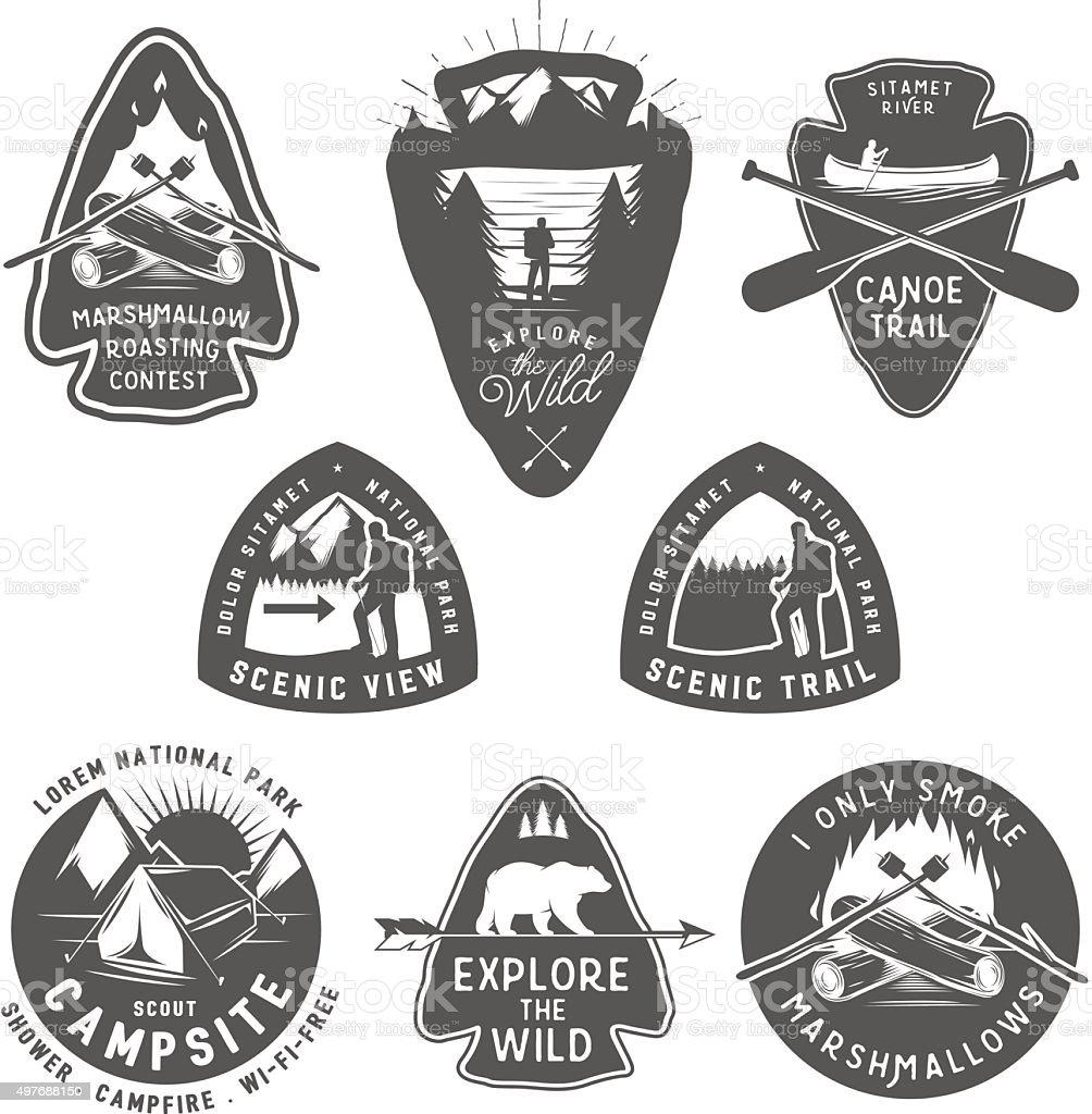 Vintage camping and hiking labels, badges, design elements vector art illustration