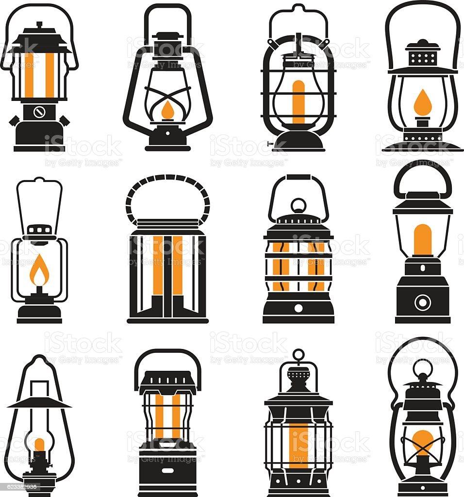 Vintage Camping Lantern Labels vector art illustration