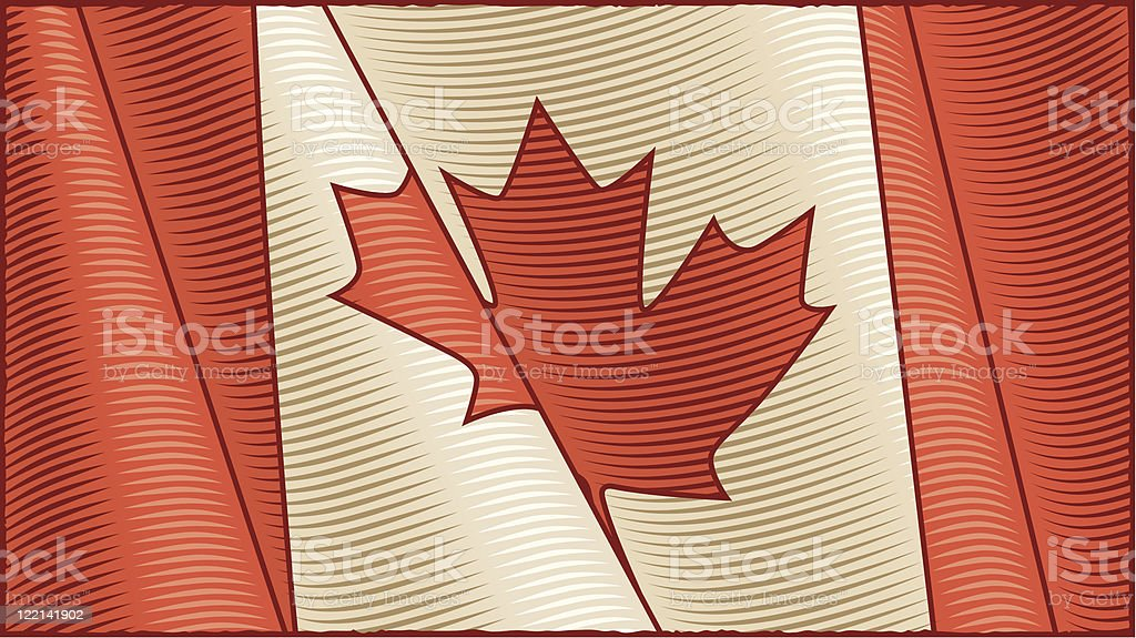 Vintage Canadian Flag (close-up) royalty-free stock vector art