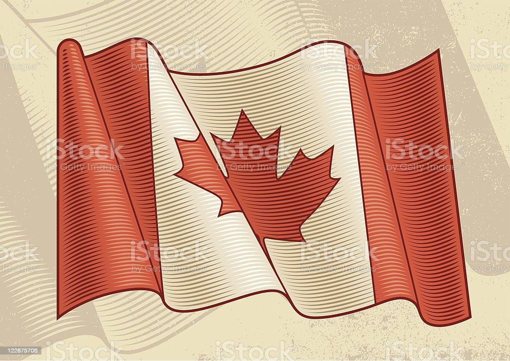 Vintage Canadian Flag royalty-free stock vector art