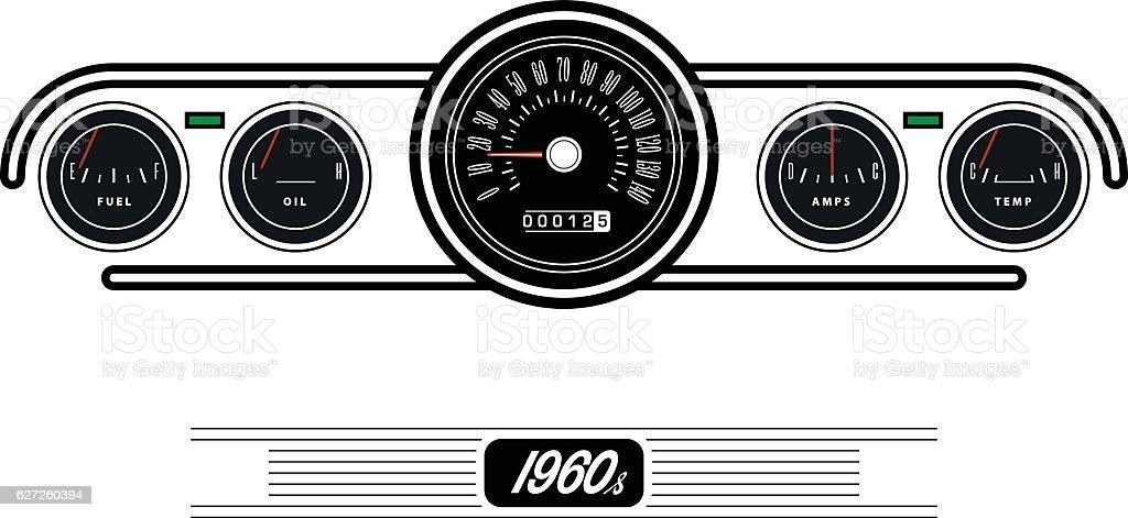 Vintage car dashboard - Illustration vector art illustration
