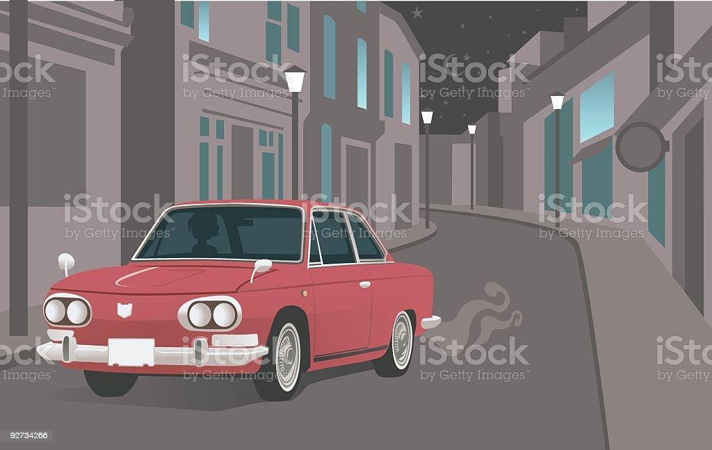 Vintage Car Driving Down Street at Night royalty-free stock vector art