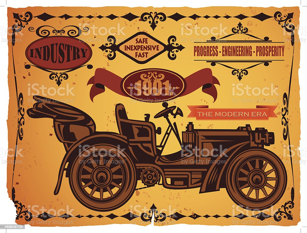 Vintage car & frames vector art illustration